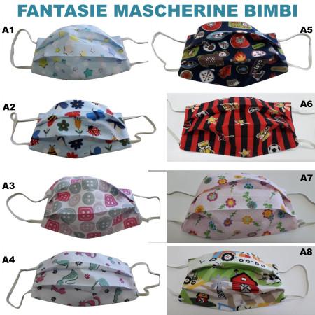 Mascherine Tessuto Lavabili COTONE 100% BIMBI (18 Fantasie)