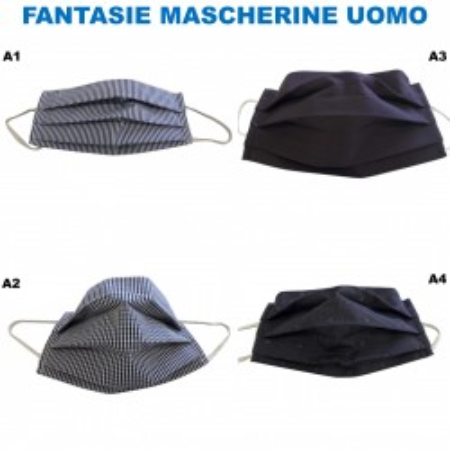 Mascherine Tessuto Lavabili COTONE 100% UOMO (4 Fantasie)